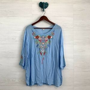 Grand & Greene Floral Embroidered Baby Blue Tunic
